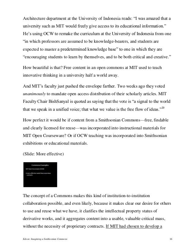 """Architecture department at the University of Indonesia reads: """"I was amazed that a university such as MIT would freely giv..."""