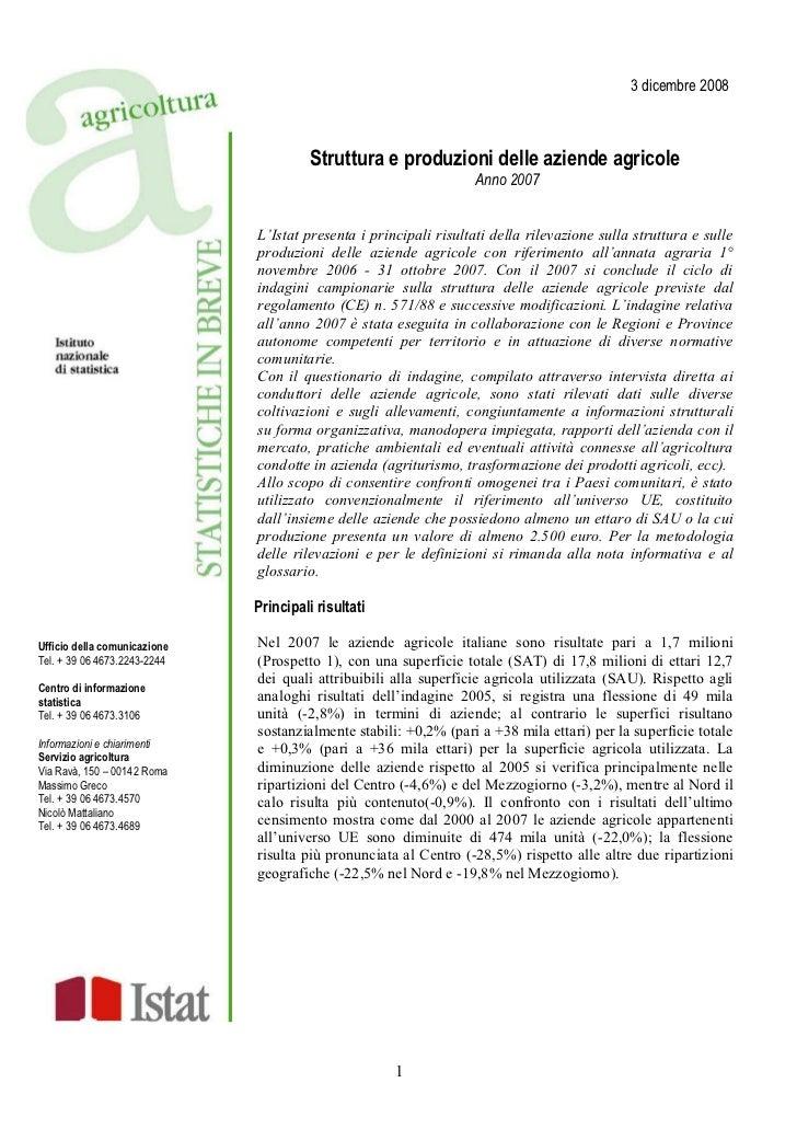 3 dicembre 2008                                        Struttura e produzioni delle aziende agricole                      ...