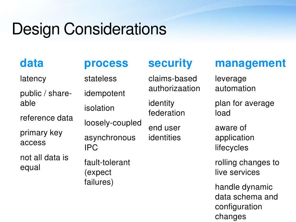 Design Considerations Data Process Security
