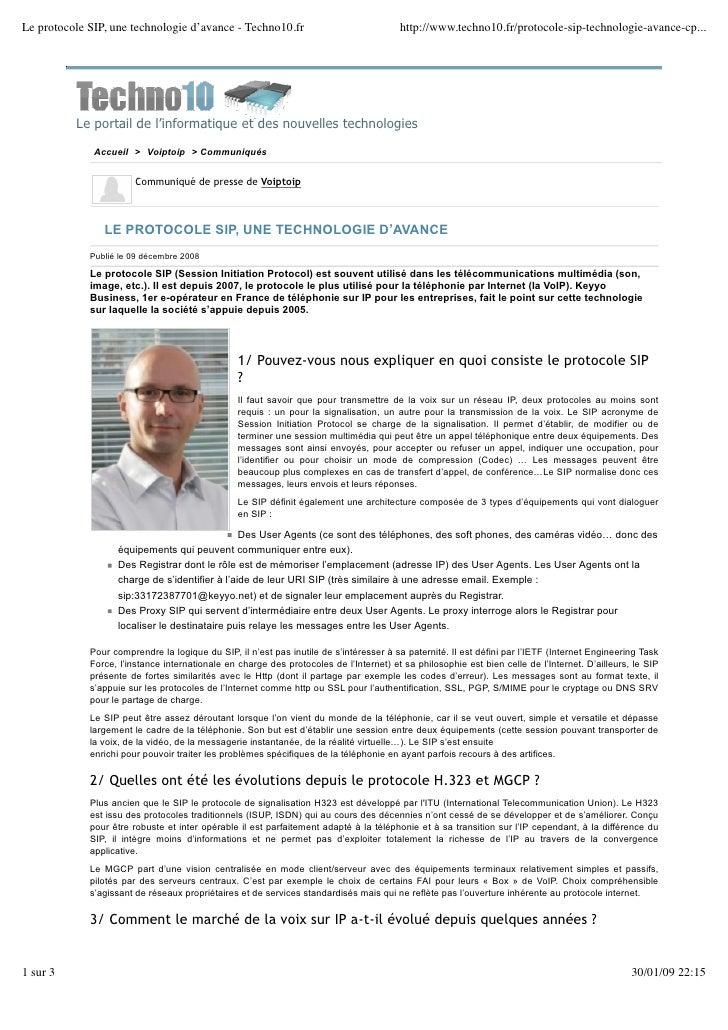 Le protocole SIP, une technologie d'avance - Techno10.fr                                http://www.techno10.fr/protocole-s...