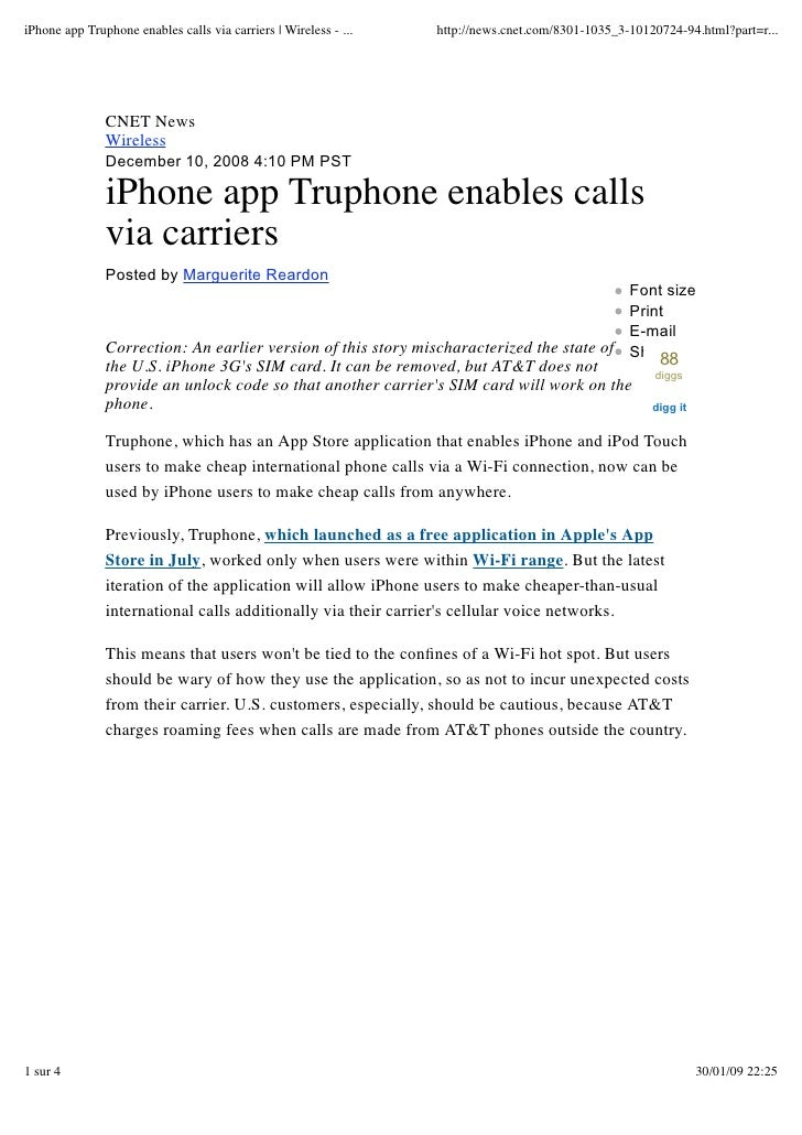 iPhone app : Truphone enables calls via carriers