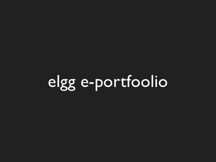 elgg e-portfoolio