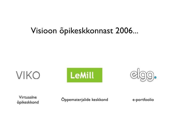 Visioon õpikeskkonnast 2006...      Virtuaalne               Õppematerjalide keskkond   e-portfoolio õpikeskkond