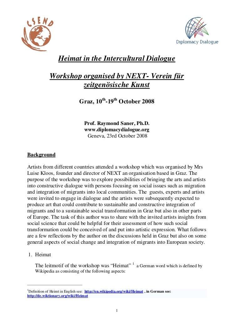 Heimat in the Intercultural Dialogue             Workshop organised by NEXT- Verein für                      zeitgenösisch...
