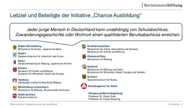 """Web-Konferenz """"Digitalisierung in der Ausbildung"""" Leitziel und Beteiligte der Initiative """"Chance Ausbildung"""" Jeder junge M..."""
