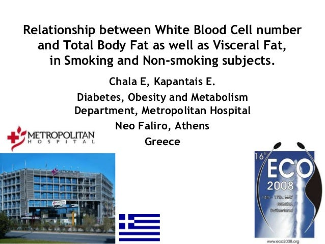 Relationship between White Blood Cell number  and Total Body Fat as well as Visceral Fat,    in Smoking and Non-smoking su...