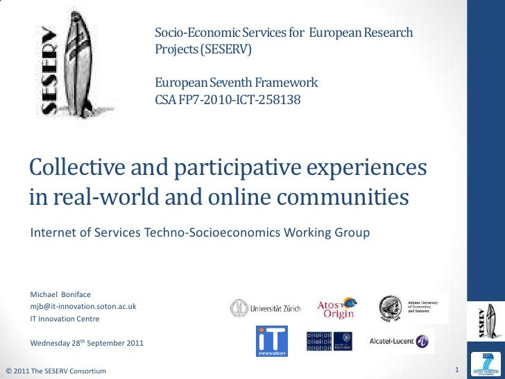Socio-Economic Services for  European Research Projects (SESERV)<br />European Seventh Framework <br />CSA FP7-2010-ICT-25...