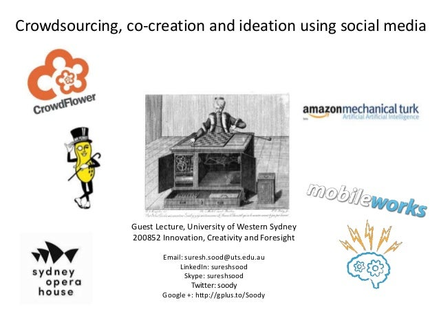 Crowdsourcing, co-creation and ideation using social media  Guest Lecture, University of Western Sydney 200852 Innovation,...