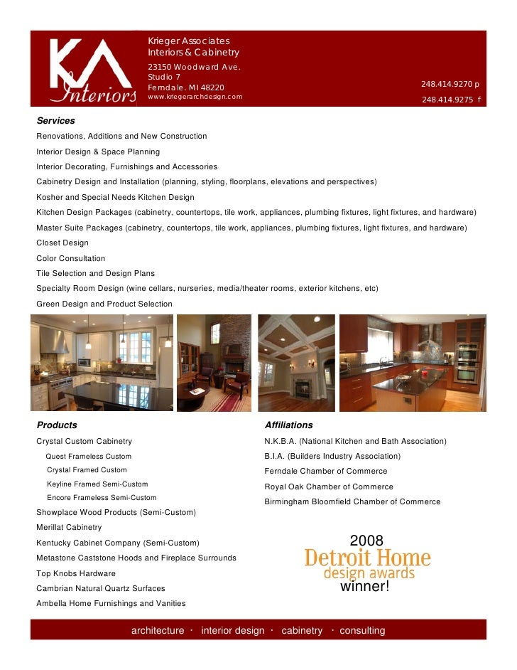 Krieger Associates                               Interiors & Cabinetry                               23150 Woodward Ave.  ...