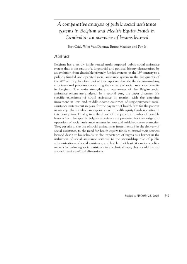 Studies in HSO&P, 23, 2008 347 A comparative analysis of public social assistance systems in Belgium and Health Equity Fun...