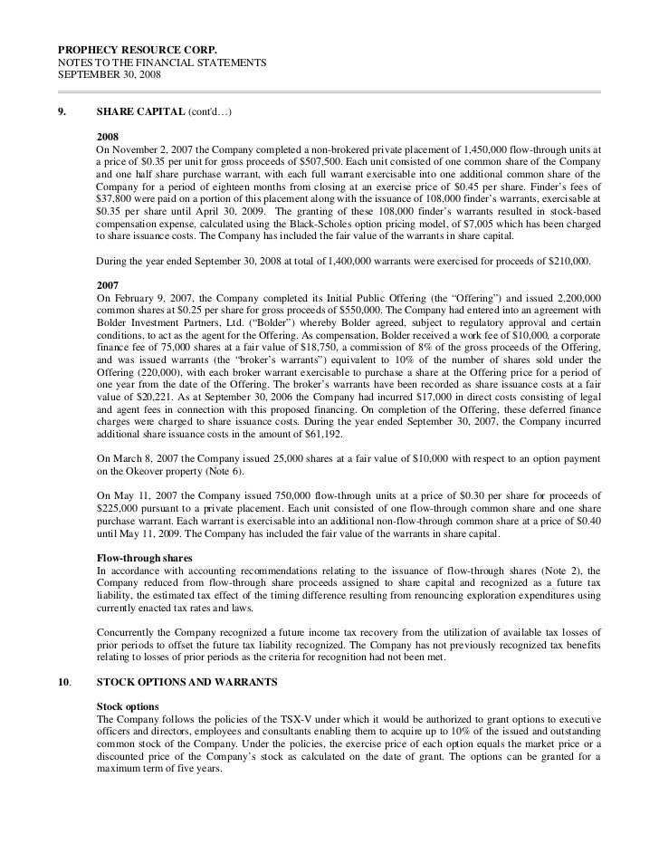 PROPHECY RESOURCE CORP.NOTES TO THE FINANCIAL STATEMENTSSEPTEMBER 30, 200810.     STOCK OPTIONS AND WARRANTS (contd…)     ...