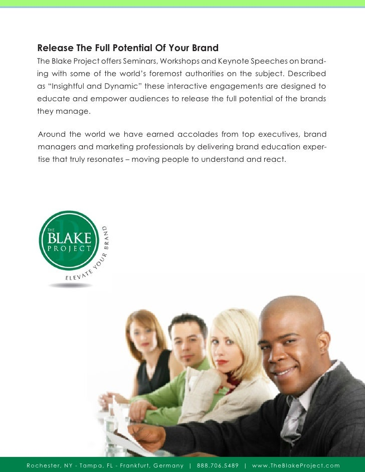 Release The Full Potential Of Your Brand   The Blake Project offers Seminars, Workshops and Keynote Speeches on brand-   i...