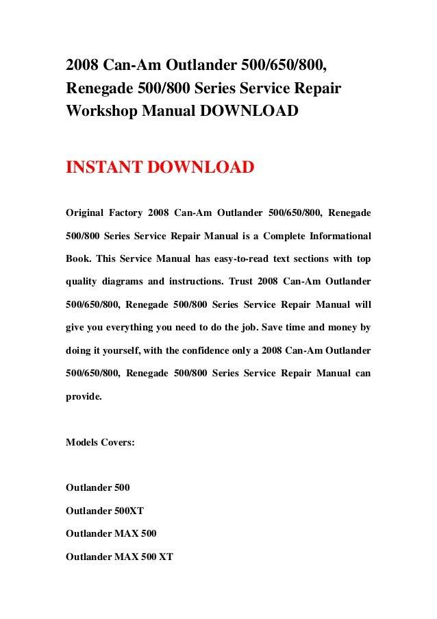 2008 Canam Outlander 500650800 Renegade 500800 Series Service Re\u2026rhslideshare: Can Am Outlander Wiring Diagram At Gmaili.net