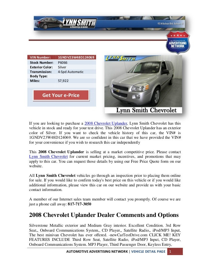 2008 chevrolet uplander arlington rh slideshare net 2008 chevrolet uplander owners manual 2008 chevrolet uplander manual