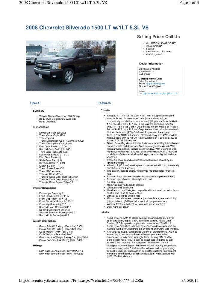 2008 chevy silverado 1500 lt 5 3 l v8 rh slideshare net 2008 Chevrolet Silverado 1500 2010 Chevrolet Silverado 1500