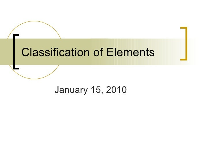 Classification of Elements January 15, 2010