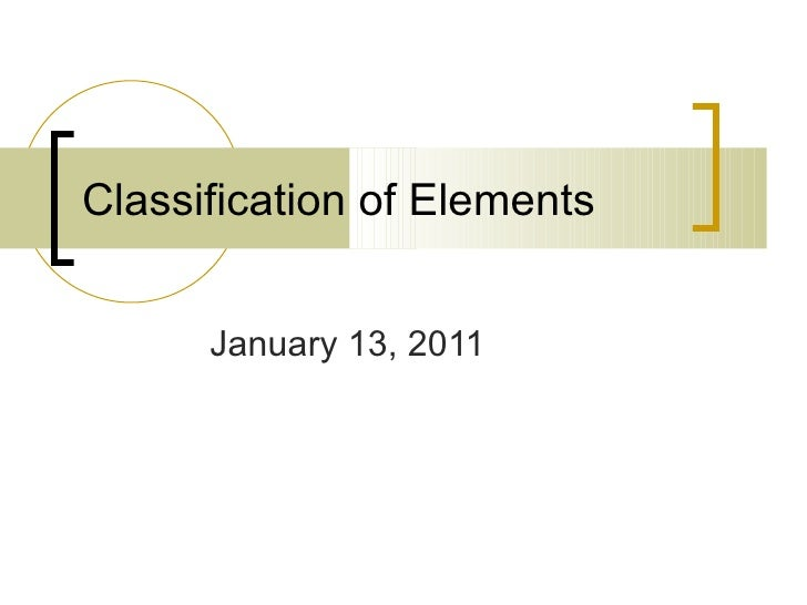 Classification of Elements January 13, 2011