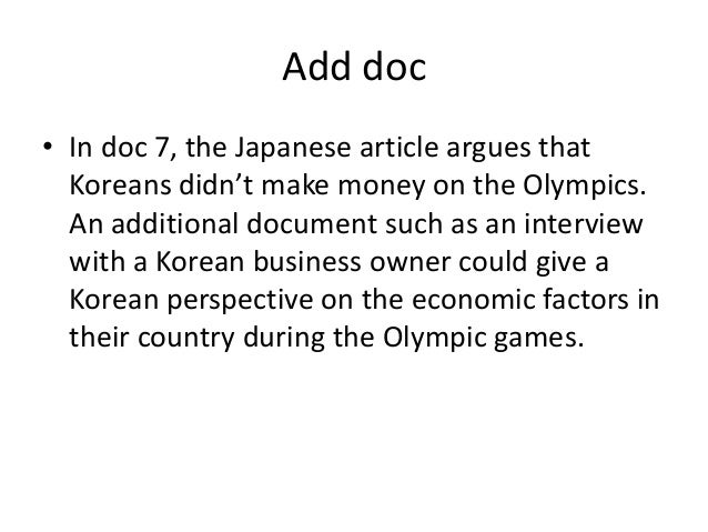 olympic dbq essay