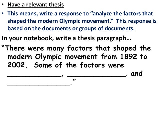 modern olympics dbq Search results an overview of the olympics the olympic games are an international sports competition in the olympics, athletes play in many types of games.