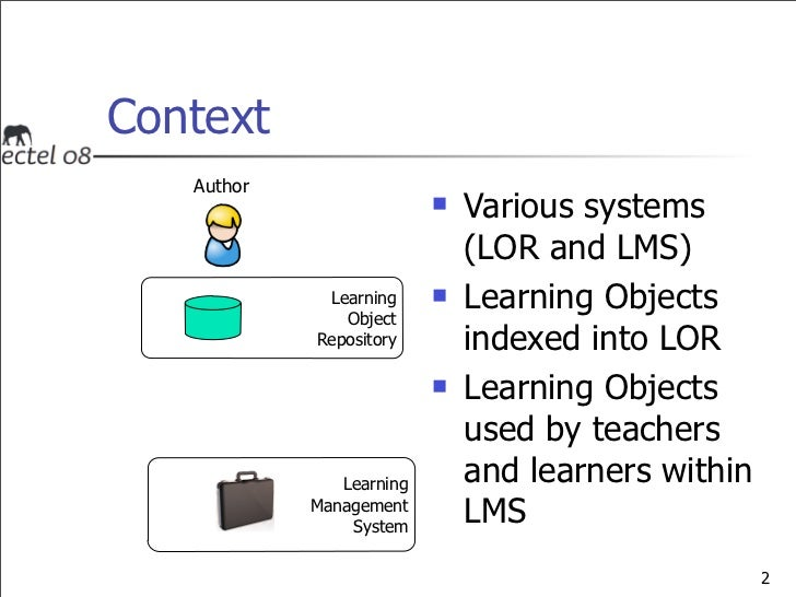 A Service Providing Awareness of Learning Object Evolutions in a Distributed Environment - 2008 ECTEL Slide 2