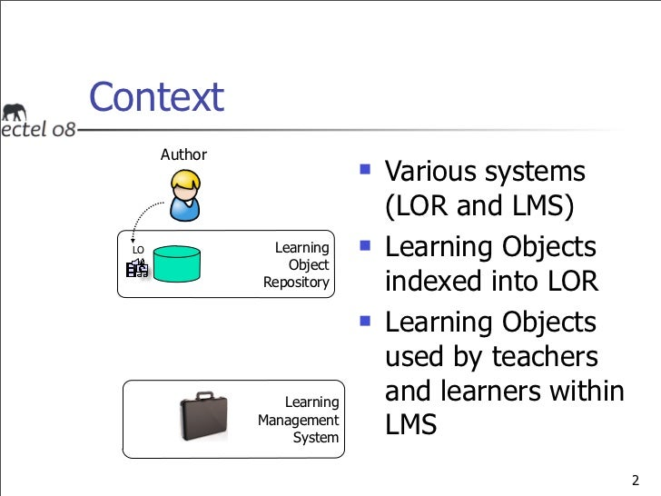 A Service Providing Awareness of Learning Object Evolutions in a Distributed Environment - 2008 ECTEL Slide 3