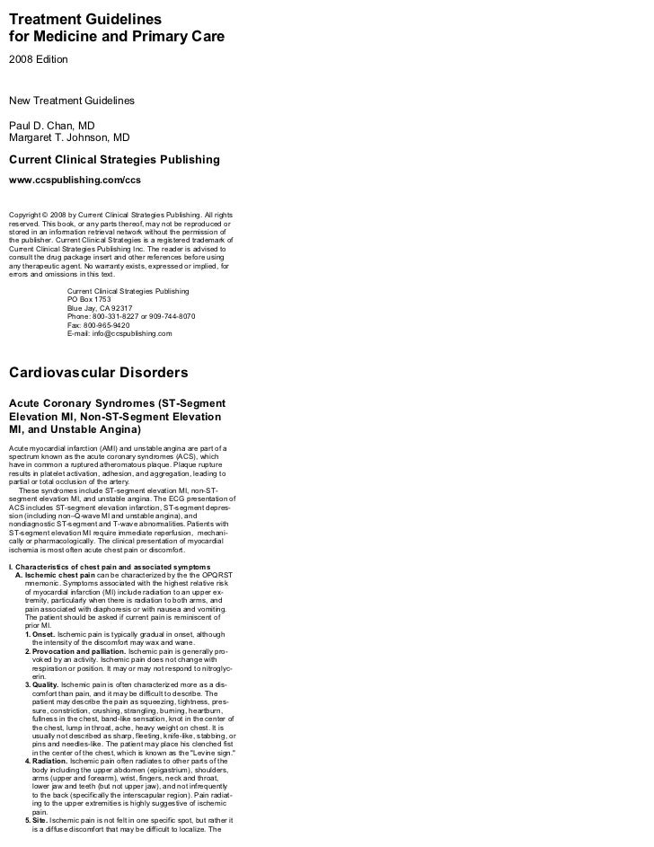 Treatment Guidelinesfor Medicine and Primary Care2008 EditionNew Treatment GuidelinesPaul D. Chan, MDMargaret T. Johnson, ...