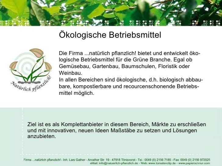 Firmenpräsentation ...natürlich pflanzlich! Eco Bio Systems! Slide 2