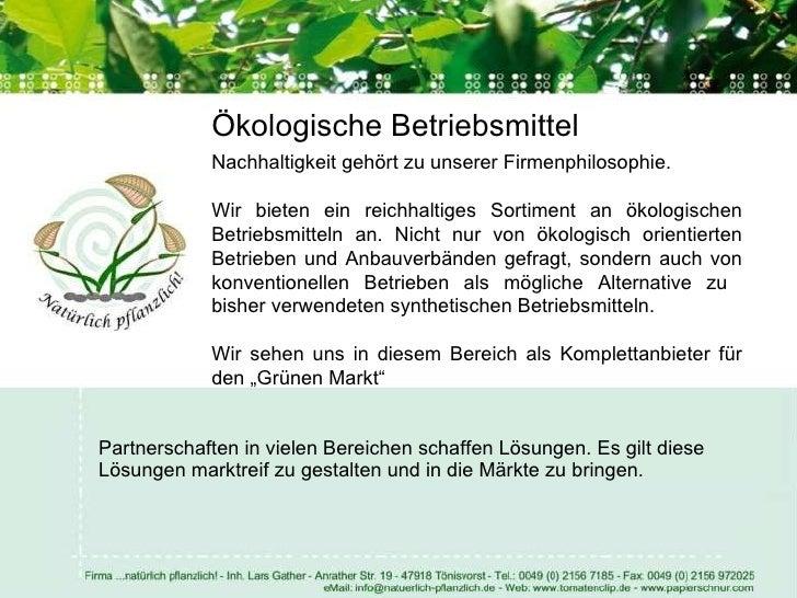 Firmenpräsentation ...natürlich pflanzlich! Eco Bio Systems! Slide 3