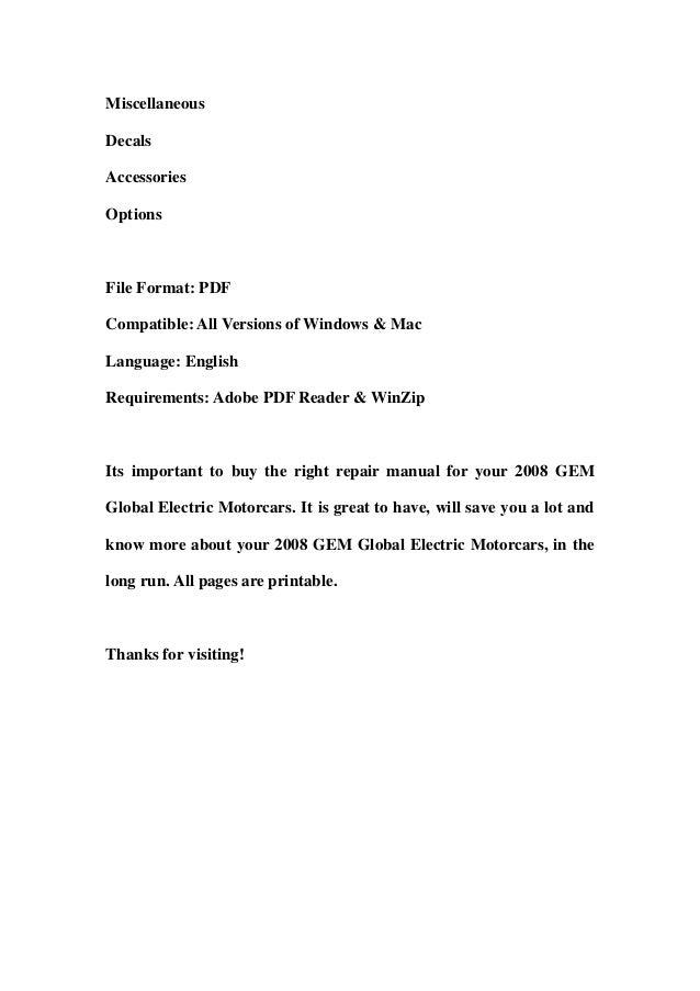 2008 gem global electric motorcars parts catalog and service repair workshop manual download