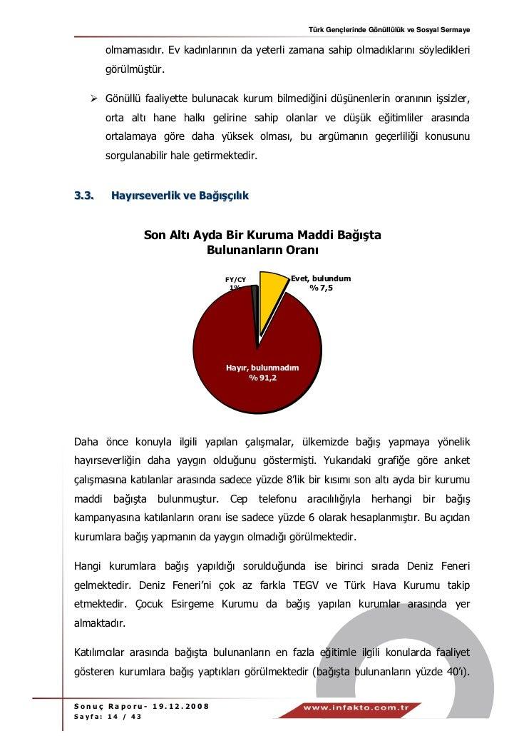 Türk Gençlerinde Gönüllülük ve Sosyal Sermaye        olmamasıdır. Ev kadınlarının da yeterli zamana sahip olmadıklarını sö...