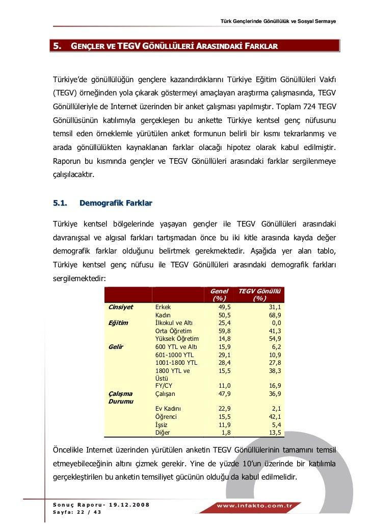 Türk Gençlerinde Gönüllülük ve Sosyal Sermaye5.     GENÇLER VE TEGV GÖNÜLLÜLER ARASINDAK FARKLARTürkiye'de gönüllülüğün ge...