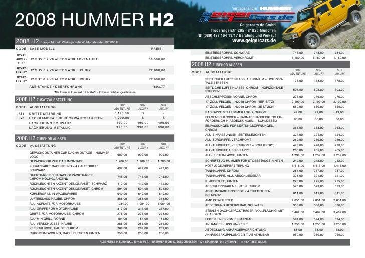 Vertragshändler   2008 HUMMER H2                                                                                          ...