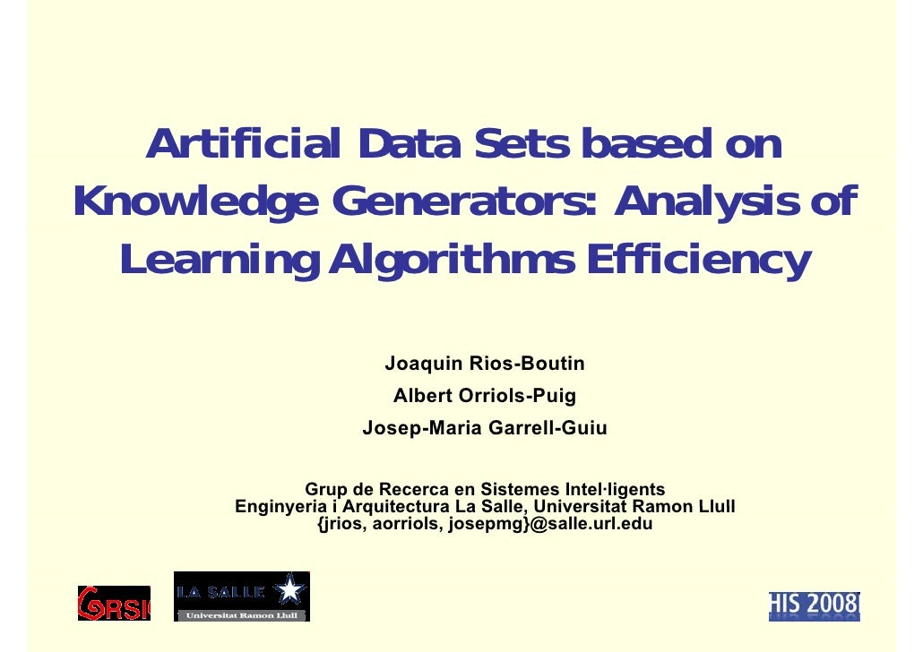 Artificial Data Sets based on Knowledge Generators: Analysis of          g                   y   Learning Algorithms Effic...