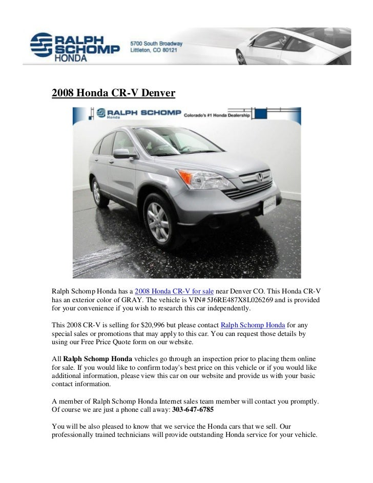 Ralph Schomp Honda >> 2008 Honda Cr V In Denver Co