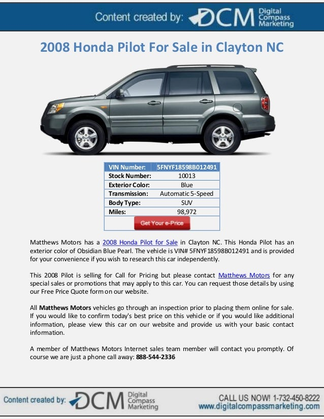 2008 Honda Pilot For Sale In Clayton NC VIN Number 5FNYF18598B012491
