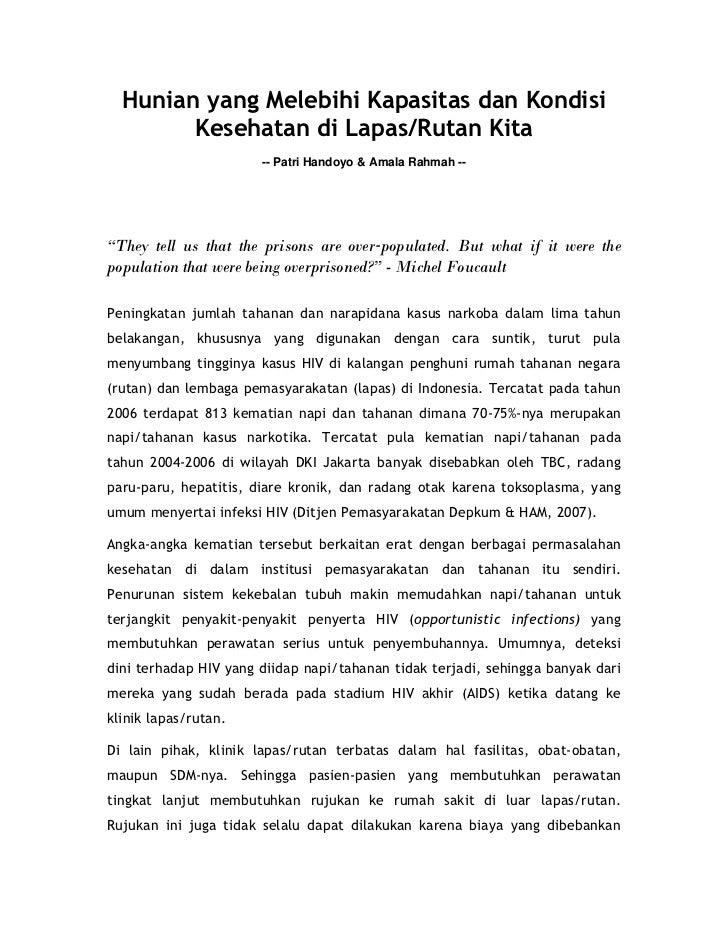 Hunian yang Melebihi Kapasitas dan Kondisi        Kesehatan di Lapas/Rutan Kita                       -- Patri Handoyo & A...