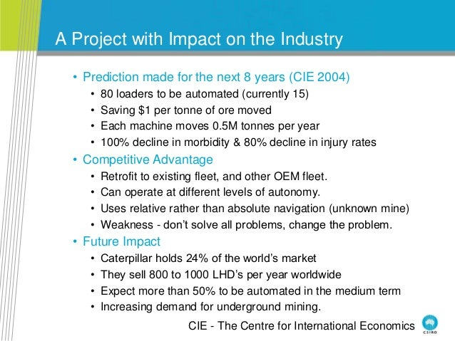 A Project with Impact on the Industry • Prediction made for the next 8 years (CIE 2004) • 80 loaders to be automated (curr...
