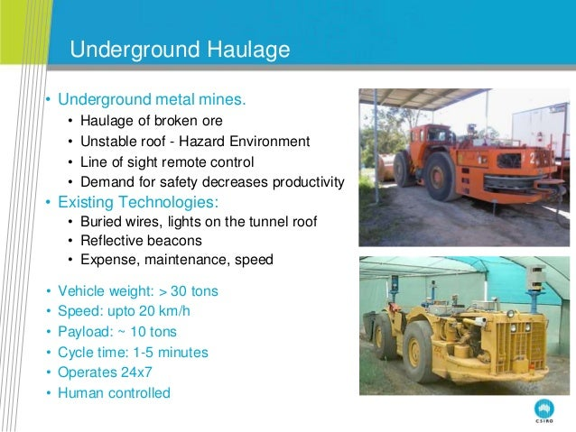 Underground Haulage • Underground metal mines. • Haulage of broken ore • Unstable roof - Hazard Environment • Line of sigh...
