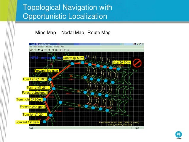 Topological Navigation with Opportunistic Localization Forward 1st gear Turn left @ 20m Forward 2nd gear Turn right @ 30m ...