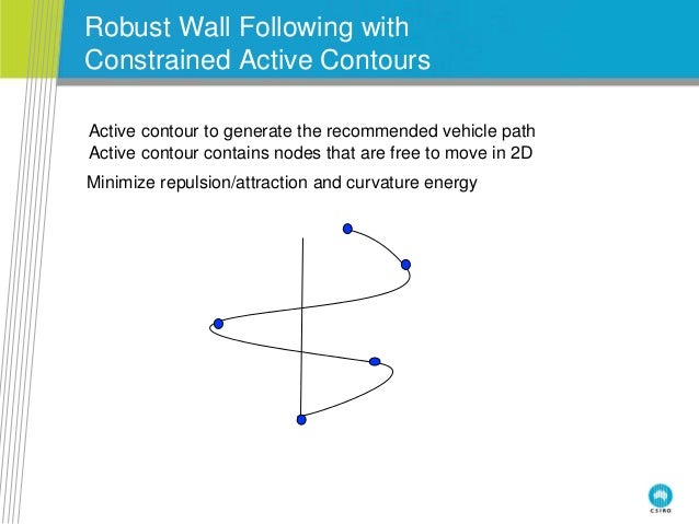 Robust Wall Following with Constrained Active Contours Active contour to generate the recommended vehicle path Active cont...