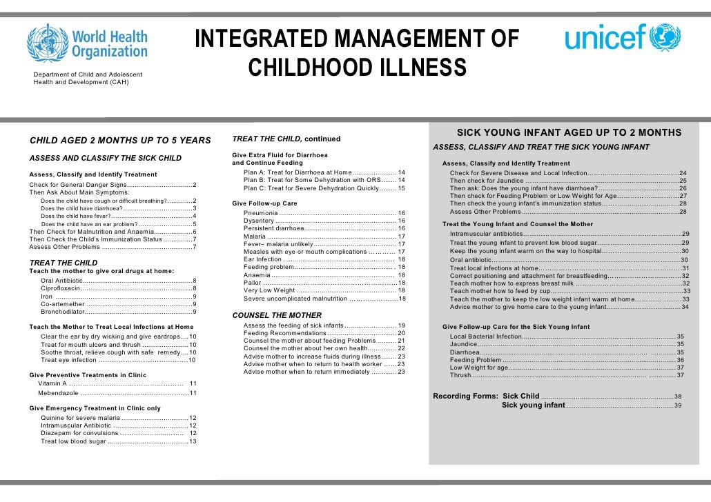 INTEGRATED MANAGEMENT OF  Department of Child and Adolescent  Health and Development (CAH)                                ...