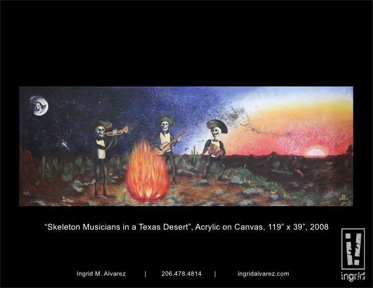 """Skeleton Musicians in a Texas Desert"", Acrylic on Canvas, 119"" x 39"", 2008             Ingrid M. Alvarez   