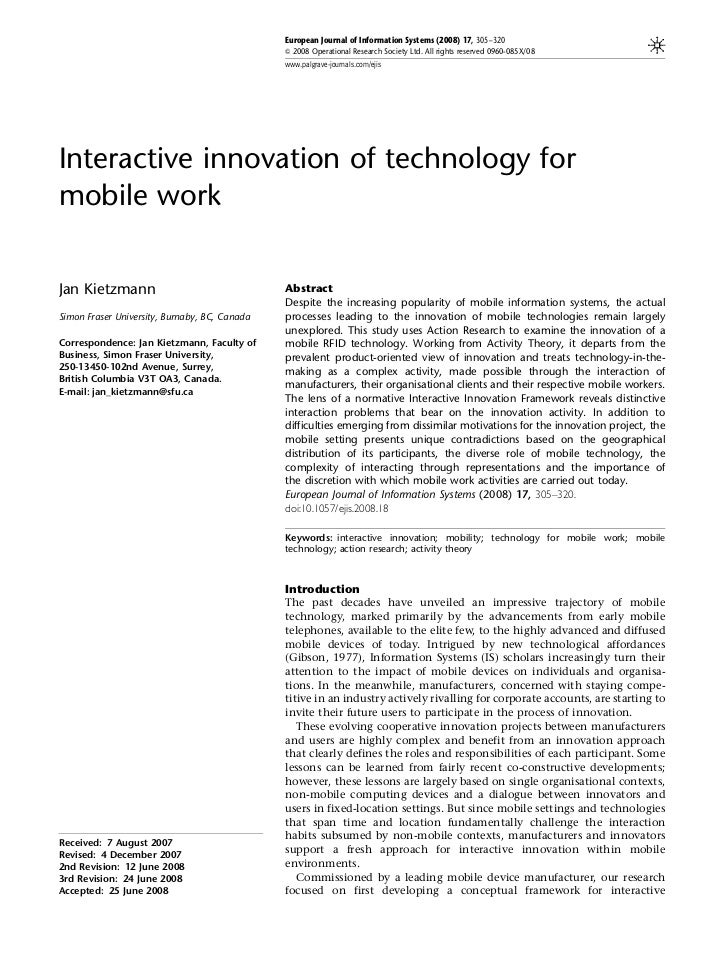 European Journal of Information Systems (2008) 17, 305–320                                               & 2008 Operationa...