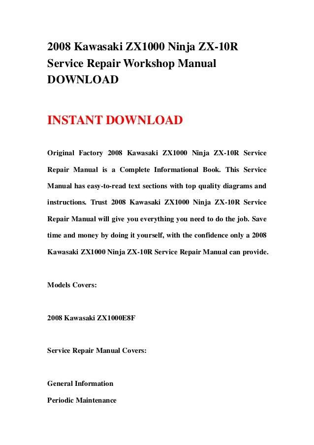 download now ninja zx10r zx 10r zx1000 2008 service repair workshop manual instant download