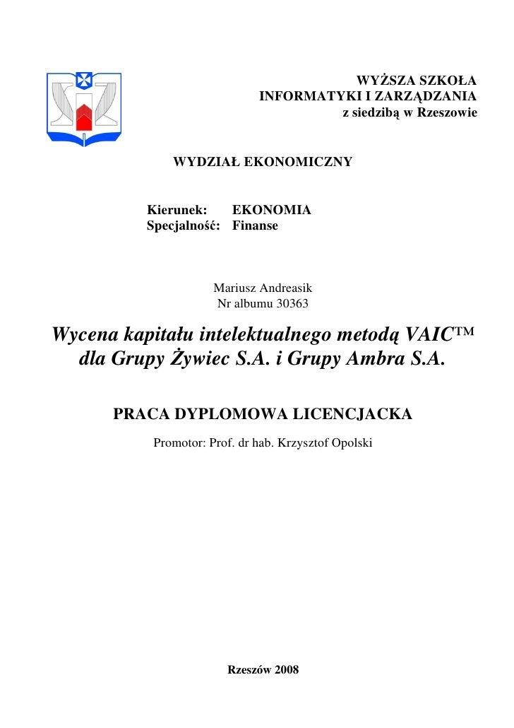 WYśSZA SZKOŁA                              INFORMATYKI I ZARZĄDZANIA                                       z siedzibą w Rz...
