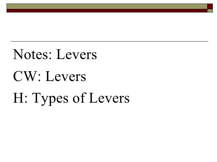 <ul><li>Notes: Levers </li></ul><ul><li>CW: Levers </li></ul><ul><li>H: Types of Levers </li></ul>