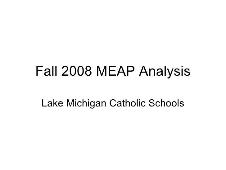 Fall 2008 MEAP Analysis Lake Michigan Catholic Schools