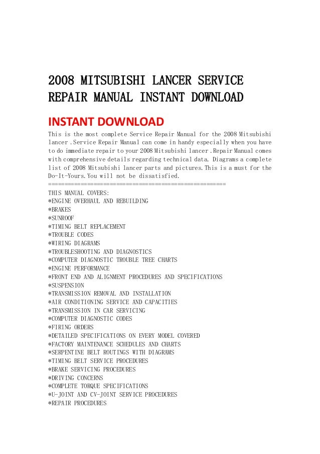 2008 mitsubishi lancer service repair manual instant download rh slideshare net mitsubishi lancer repair manual pdf mitsubishi lancer ex owners manual