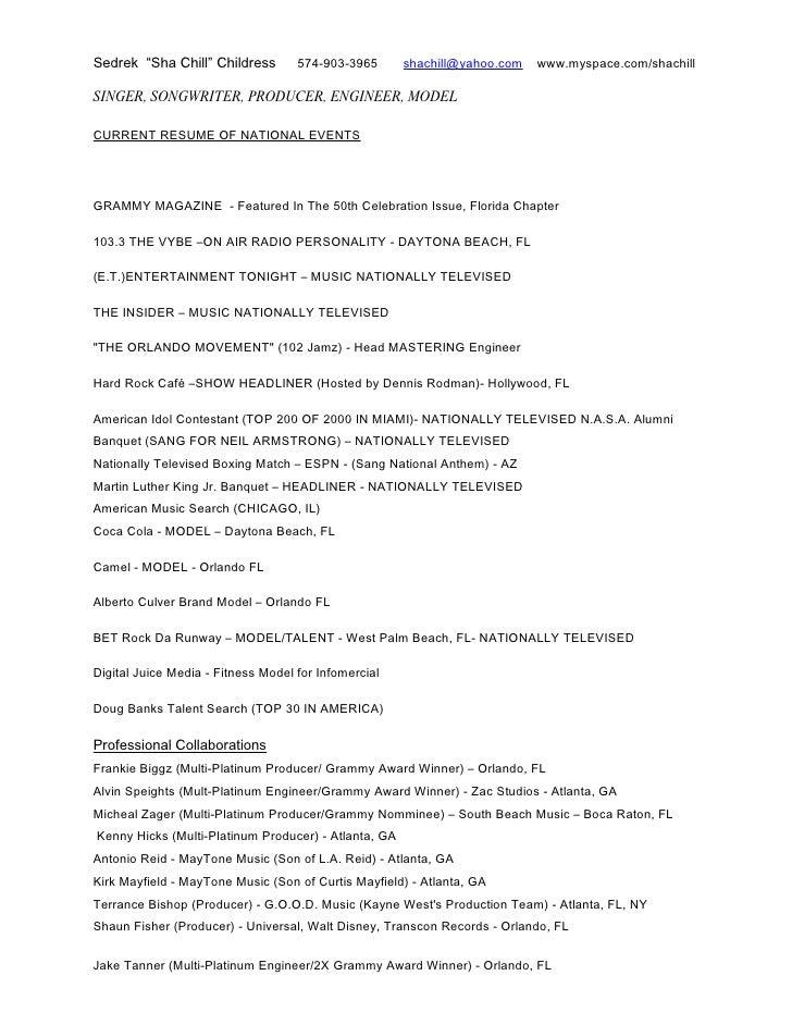 music industry resumecredits sedrek sha chill childress 574 903 3965  shachillyahoocom - Music Industry Resume Sample