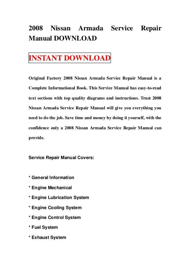 2008 Nissan Armada                         Service         RepairManual DOWNLOADINSTANT DOWNLOADOriginal Factory 2008 Niss...